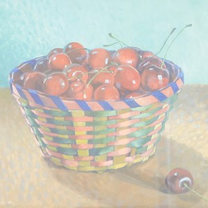 John Morley (b.1942) 'BASKET OF CHERRIES II'