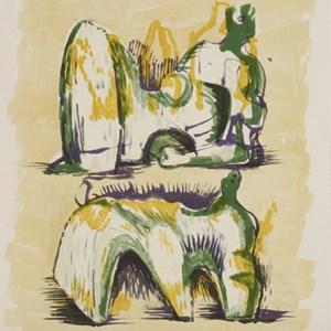 Henry Moore (British, 1898-1986) TWO RECLINING FIGURES IN YELLOW AND GREEN