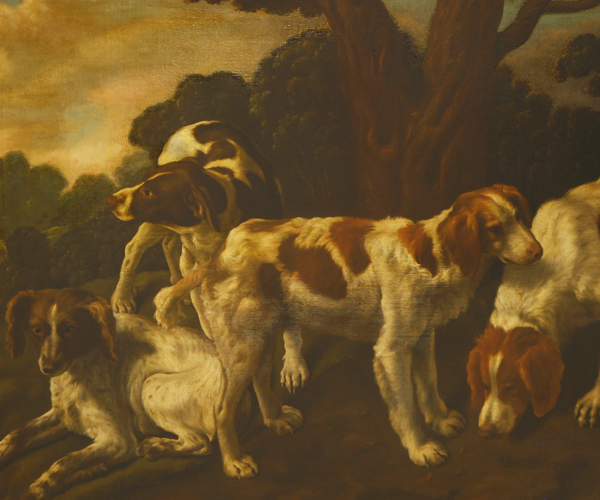 Dutch School, c.1648 SPANIELS AND POINTER IN A LANDSCAPE