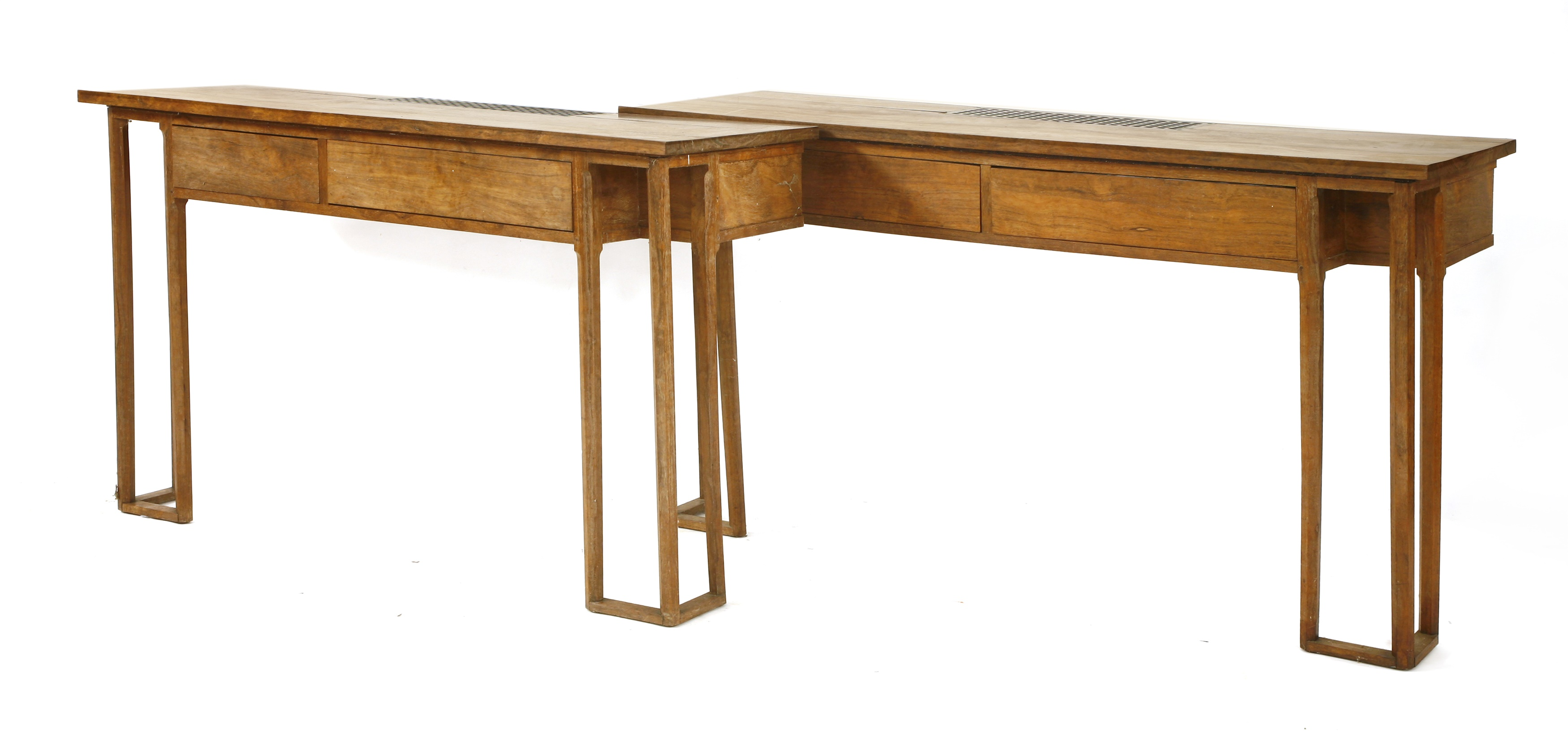 Lot 62 A pair of Arts and Crafts laurel wood console tables, designed by Montagu Norman