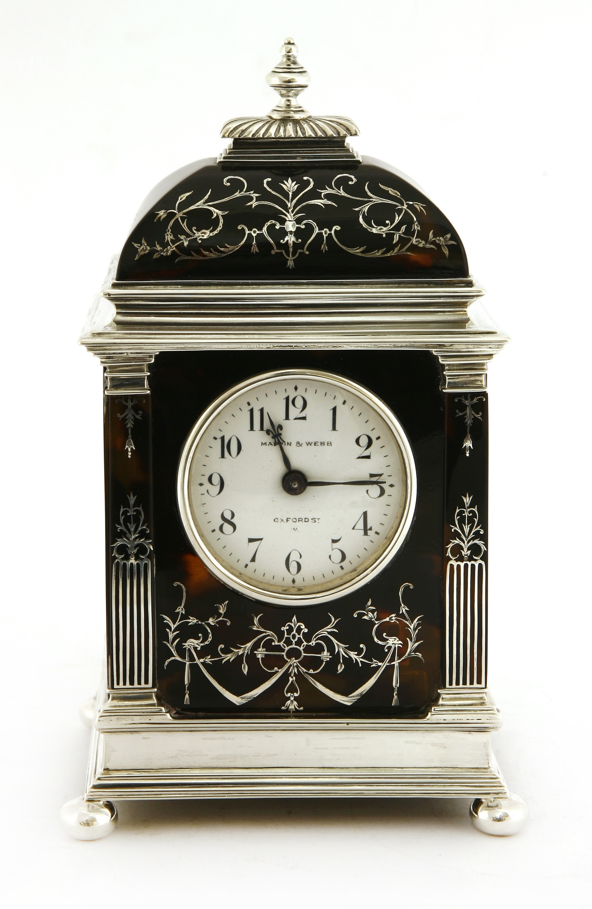 A silver and tortoiseshell eight-day timepiece, by William Comyns,