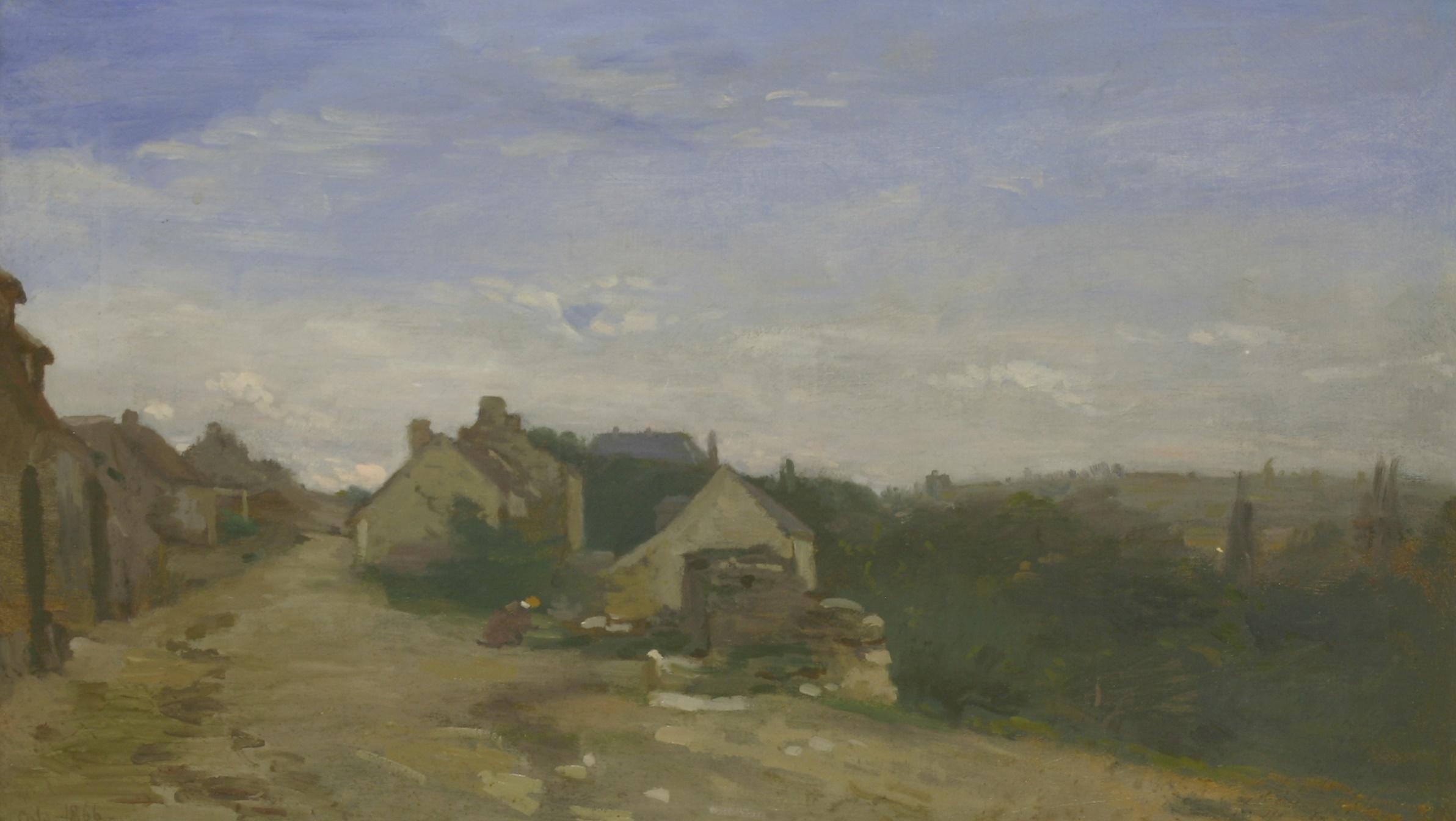 Adolphe-Felix Cals (French, 1810-1880) 'LA RUE MONTAVILLE Á ORRONY, OISE'