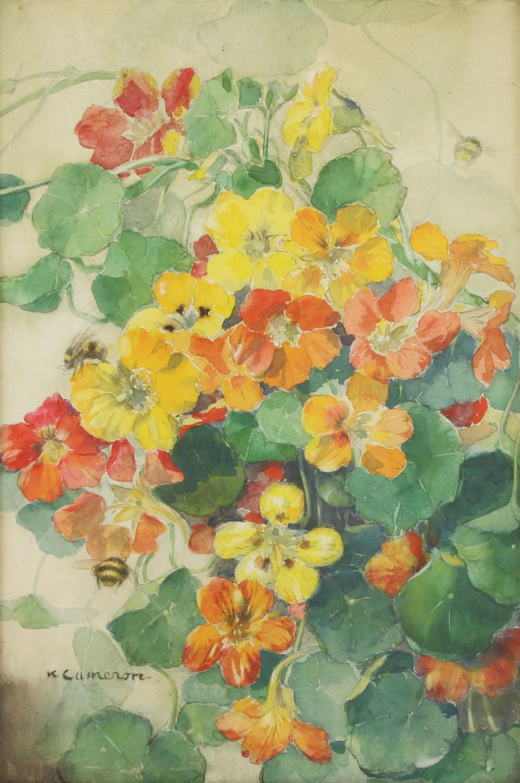 Katherine Cameron RWS (1874-1965) NASTURTIUMS AND WILD BEES