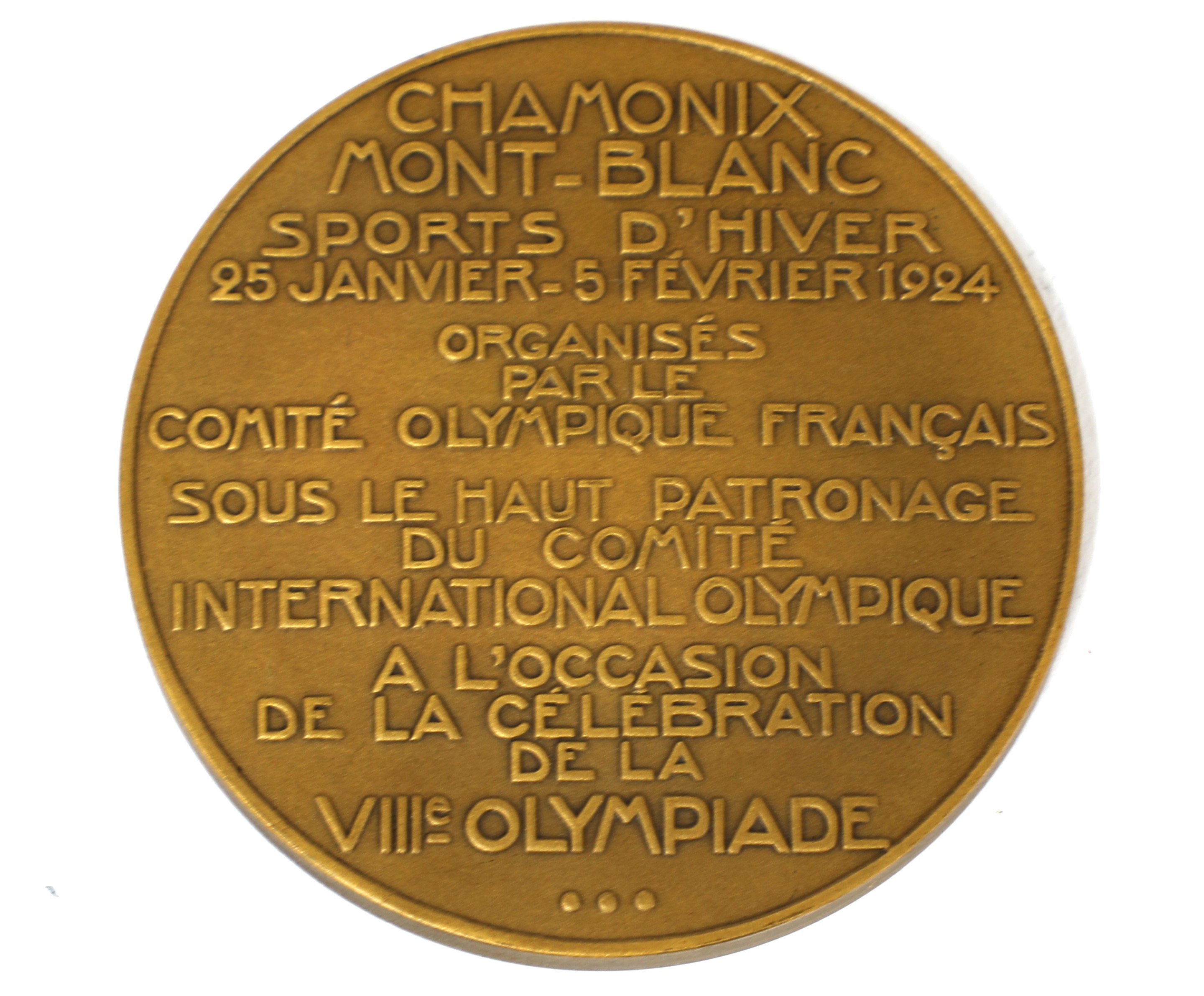 A bronze medal from the 1924 Winter Olympics at Chamonix, designed by Raoul Bernard