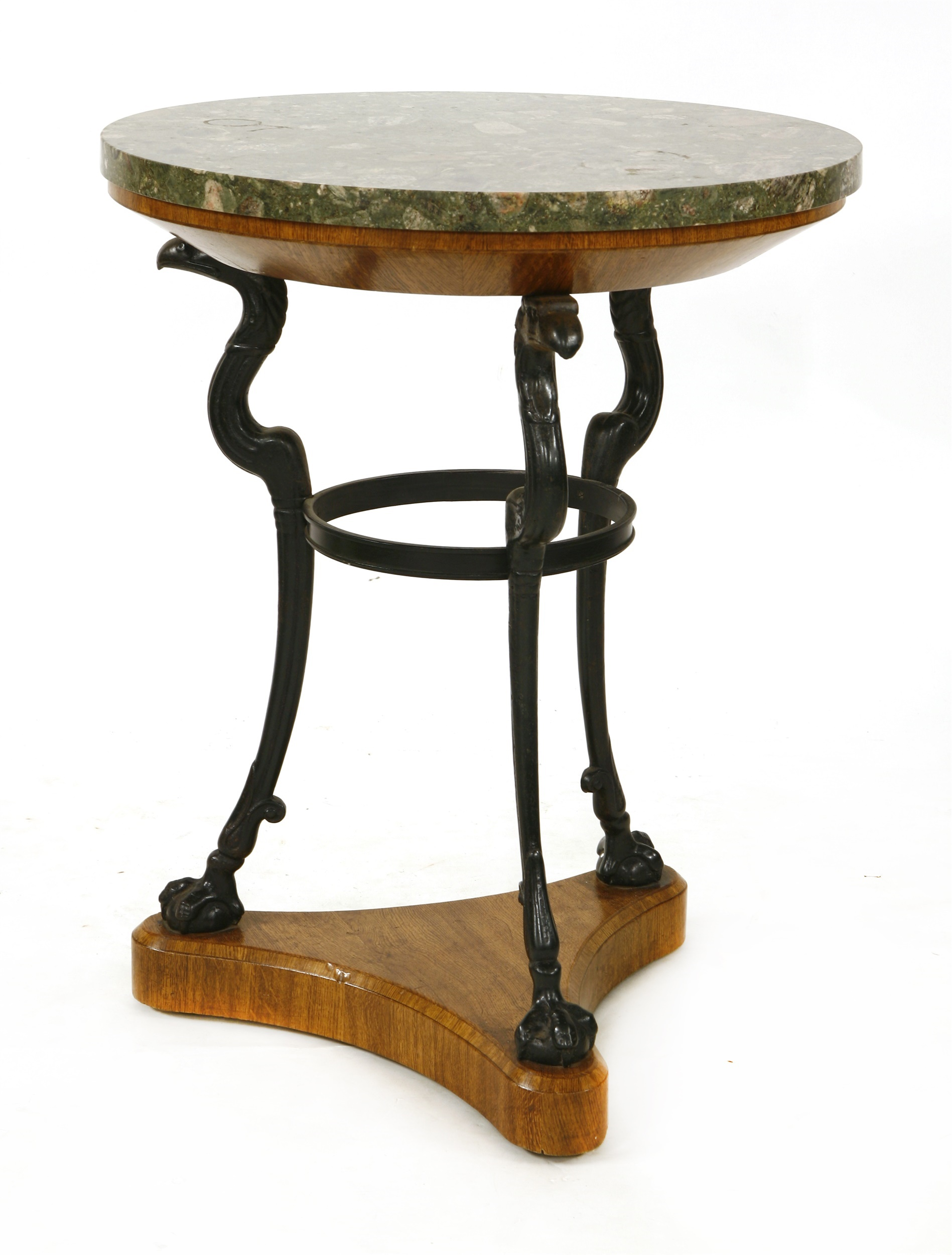A Regency oak, iron and marble-topped guéridon