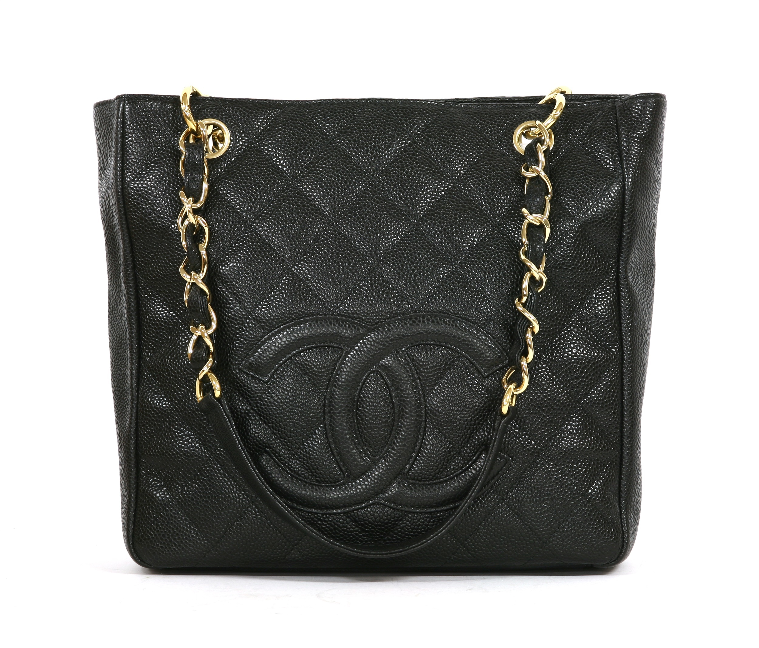 A Chanel black caviar petit shopping tote