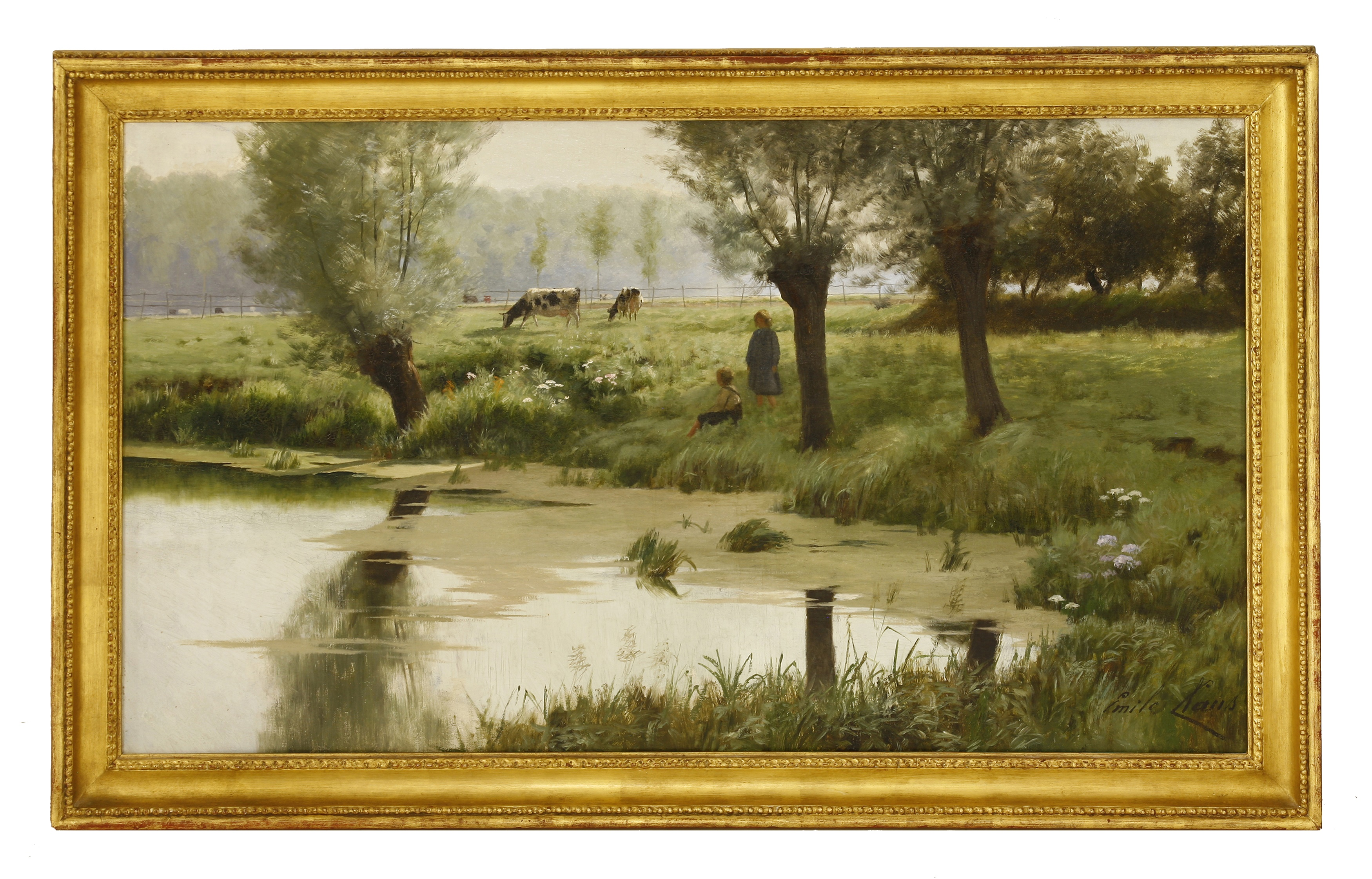 Emile Claus (Belgian, 1849-1924) A PASTORAL SCENE WITH CHILDREN AND CATTLE BY A POND