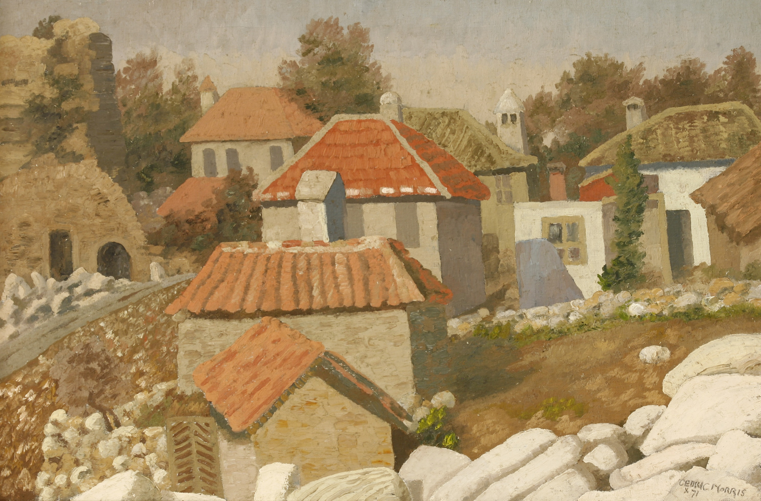 Sir Cedric Lockwood Morris (1889-1982), 9th Bart VIEW OF A TURKISH VILLAGE NEAR IZMIR