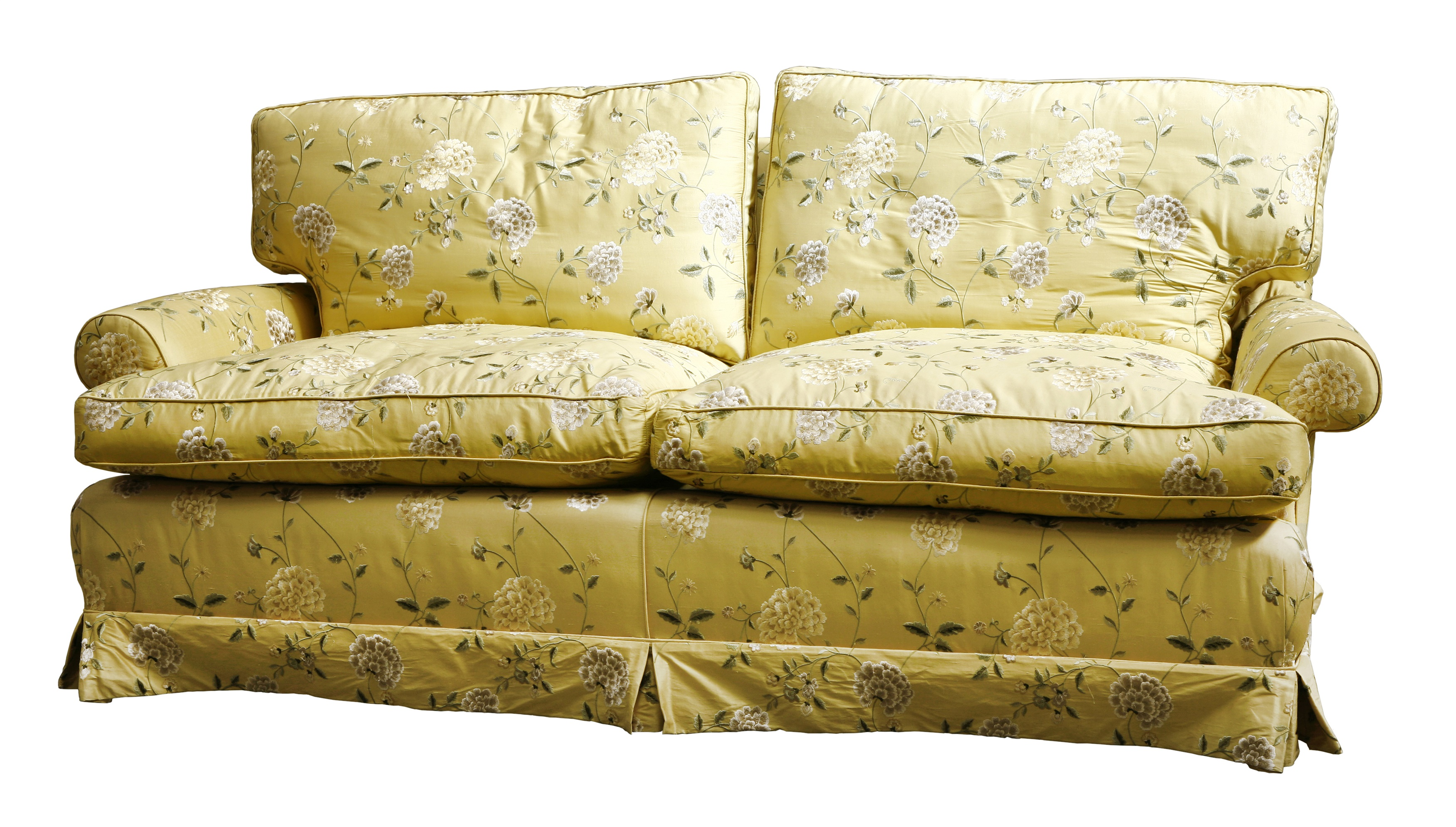 A modern silk upholstered settee, by Colefax & Fowler