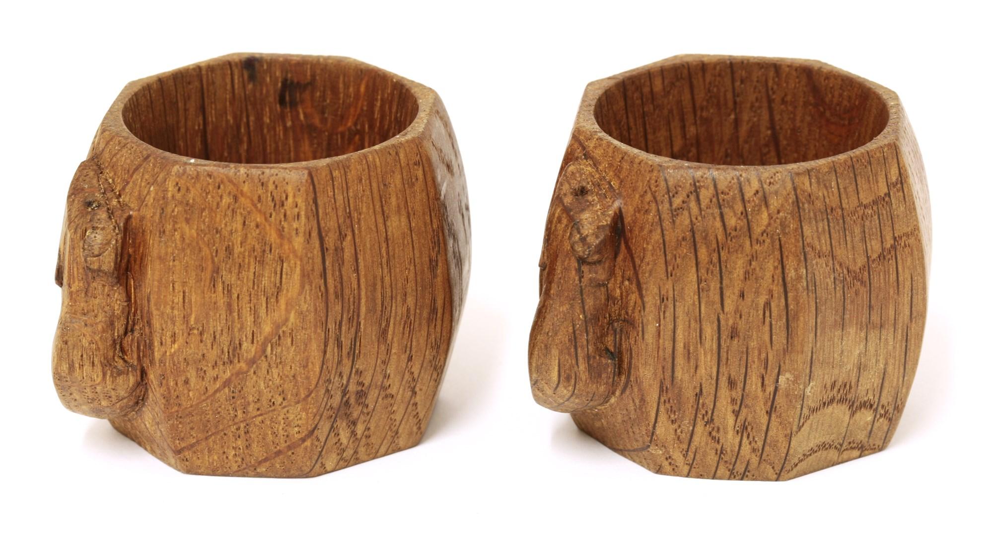 Mouseman oak napkin rings