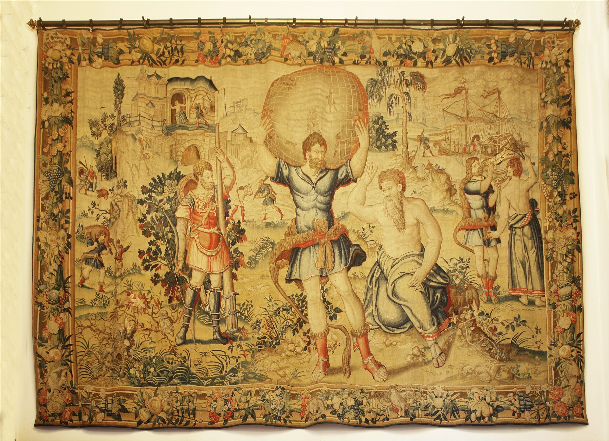 A Brussels mythological tapestry, The Labours of Hercules: (5) Hercules and Atlas