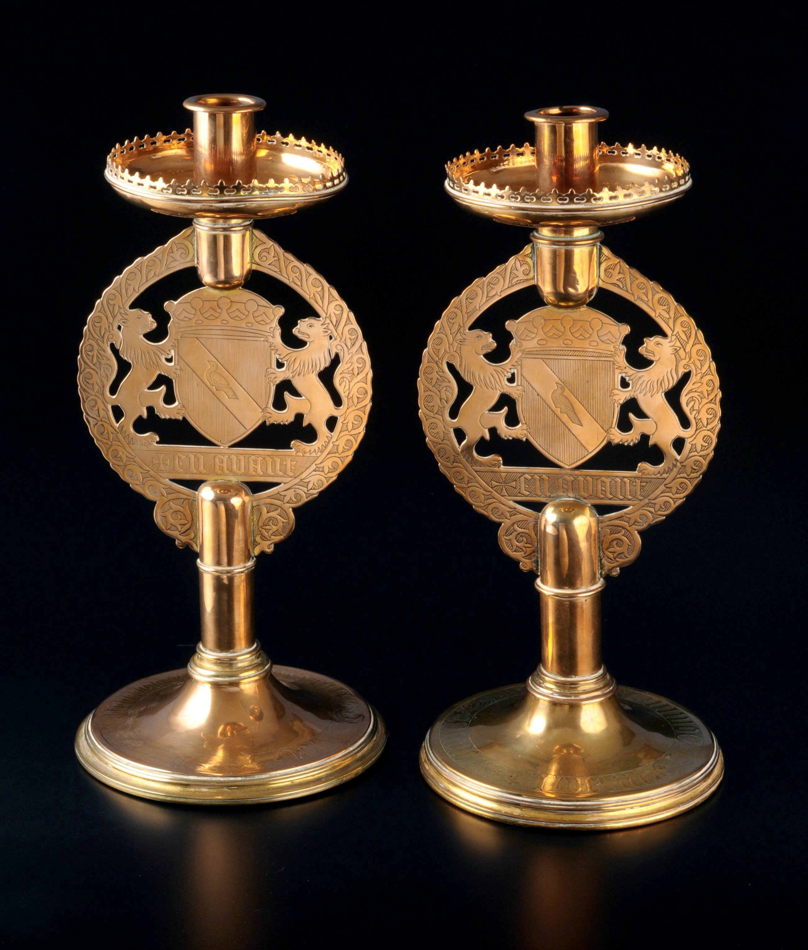 pair of gilt brass candlesticks, manufactured by John Hardman & Co., Birmingham, c.1844