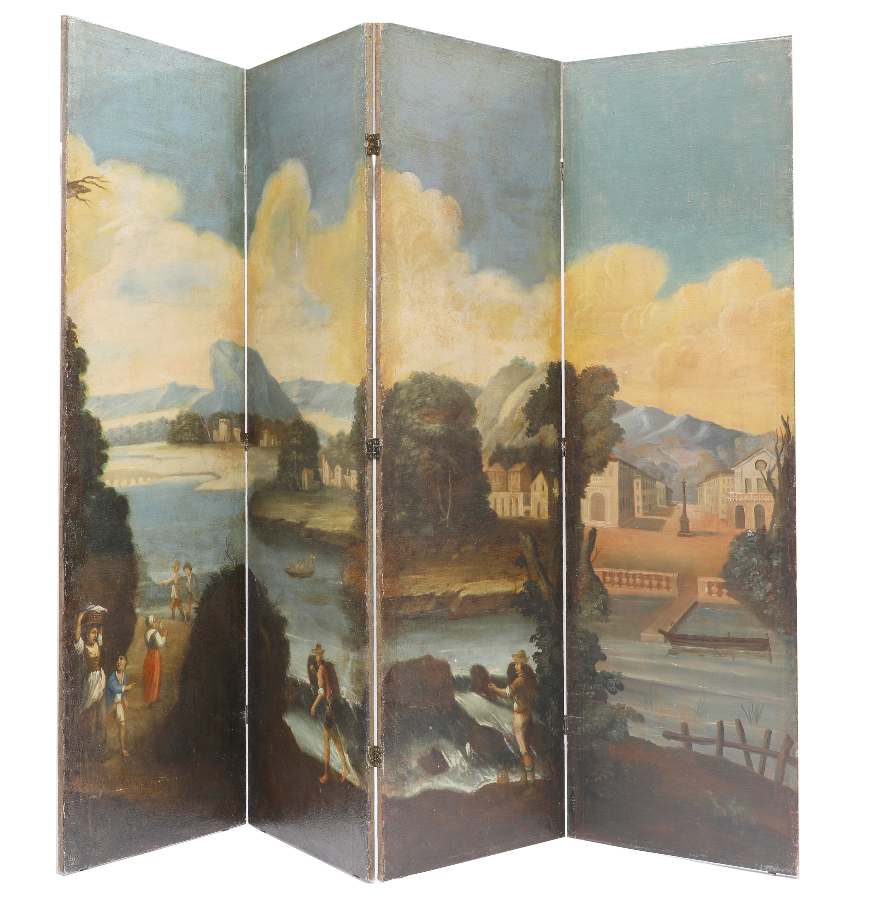 A large painted four-fold screen