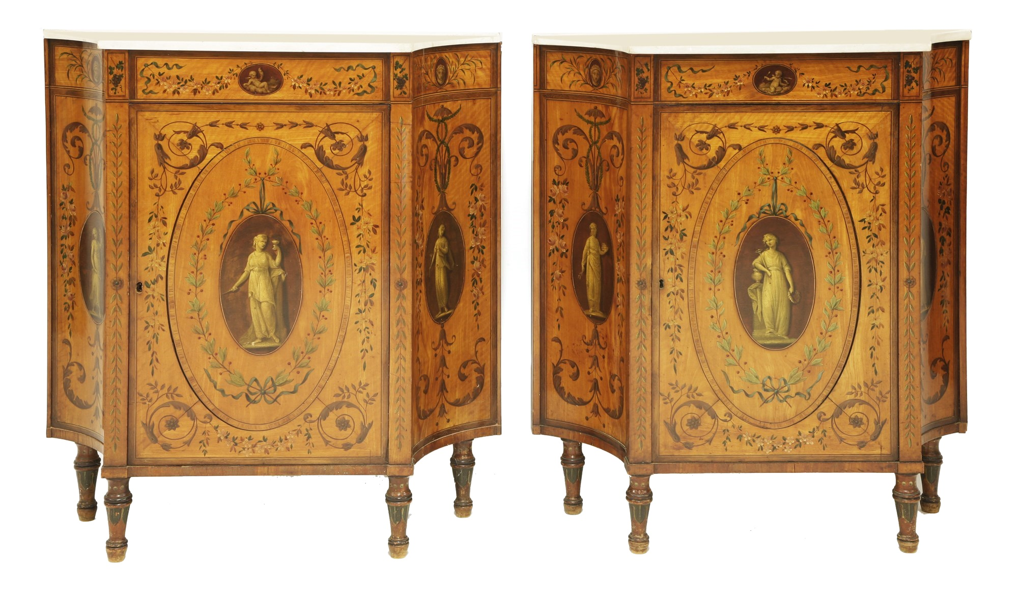 A pair of George III satinwood and crossbanded pier cabinets
