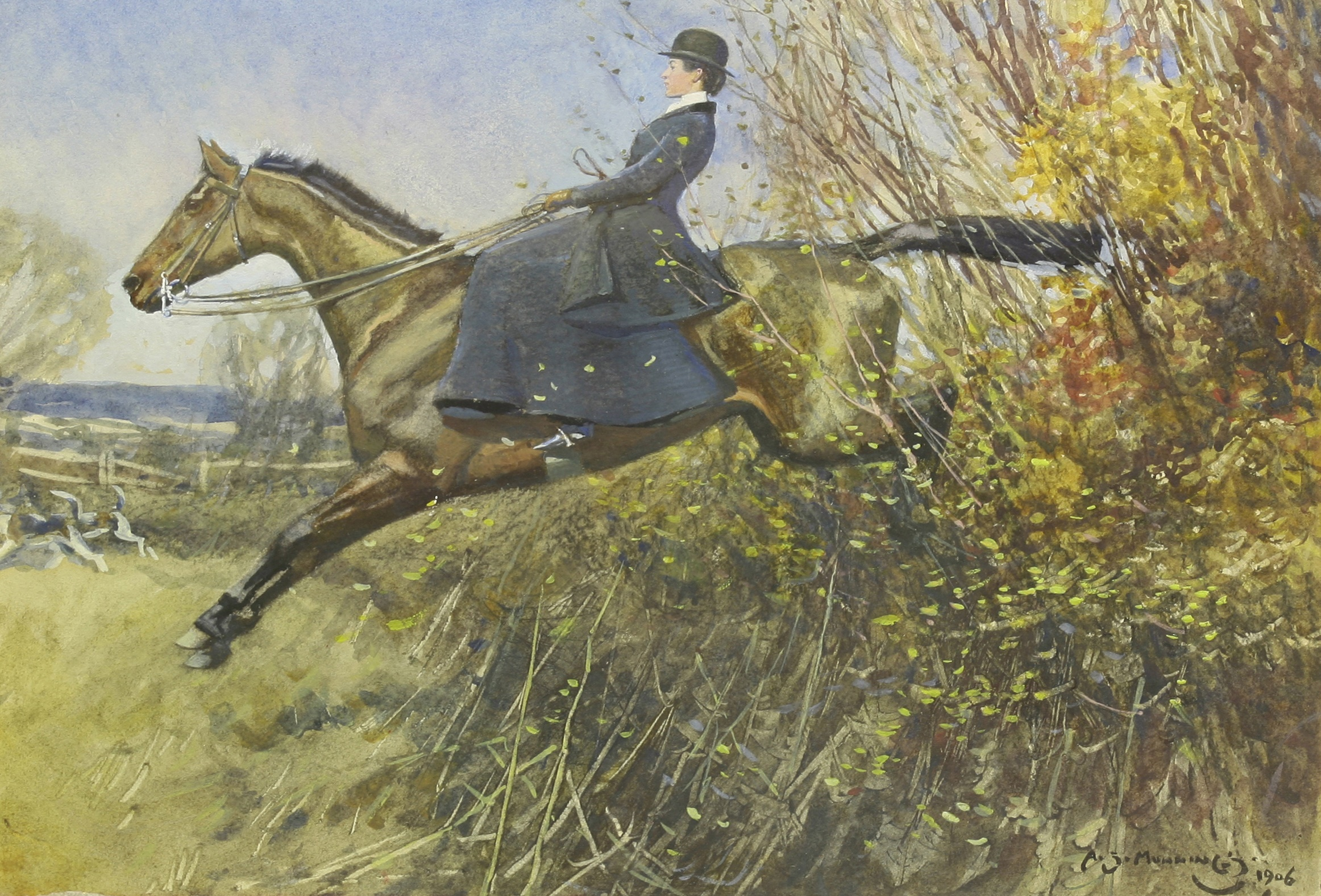Sir Alfred James Munnings, a lady on a bay hunter