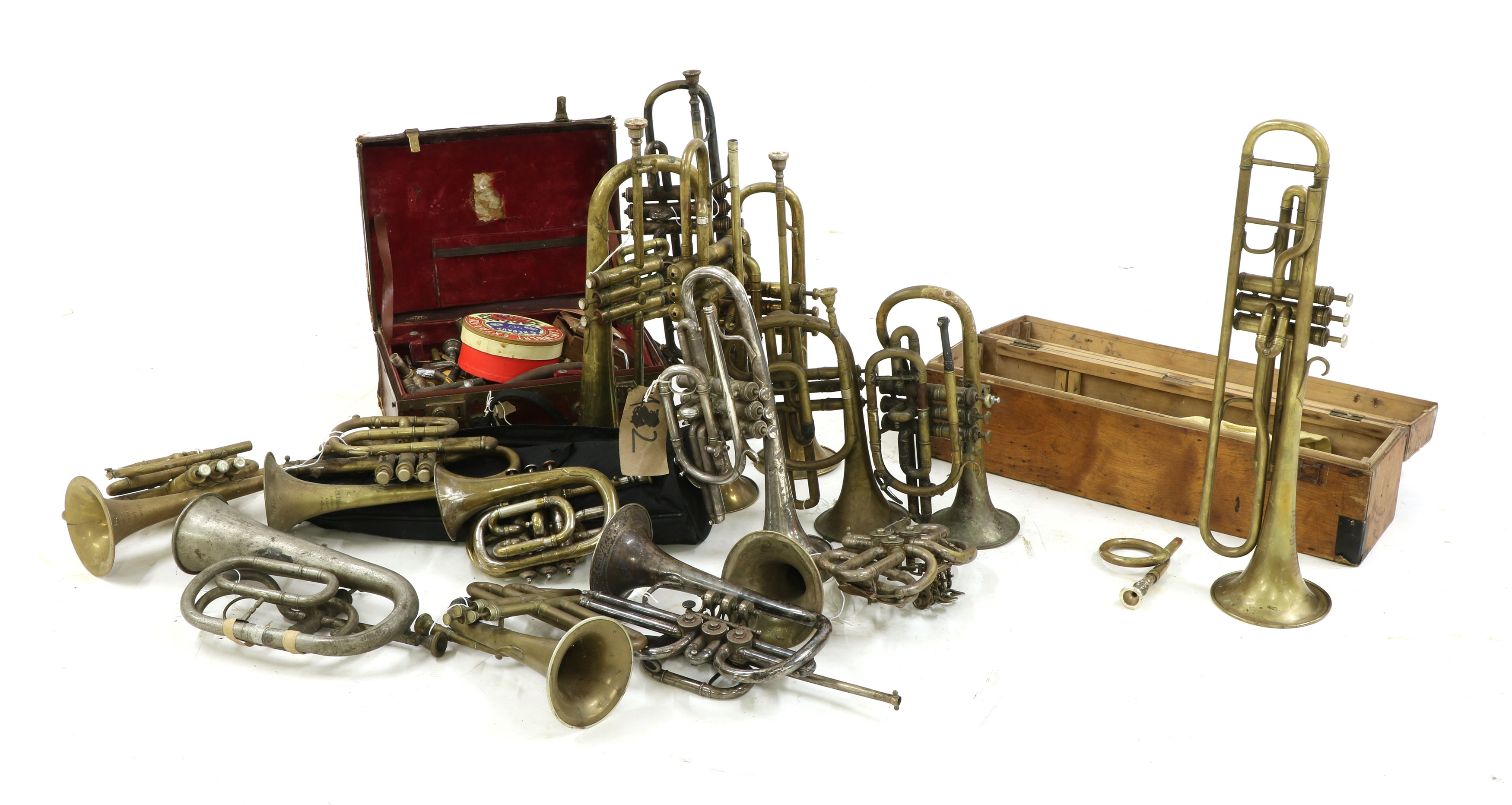 A collection of 'trumpet family' instruments