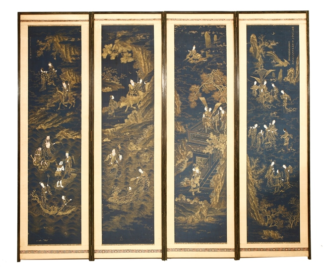 Chinese four fold screen celebrating Queen Mother of The West