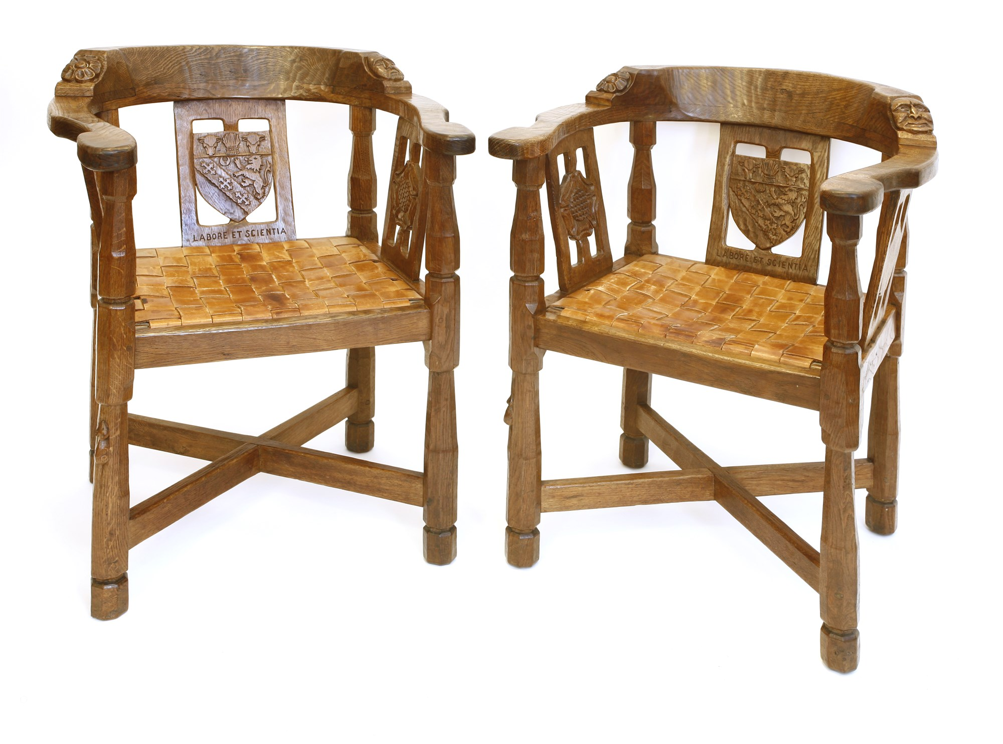 A pair of Mouseman Monk's chairs - sold for £5,658 including premium