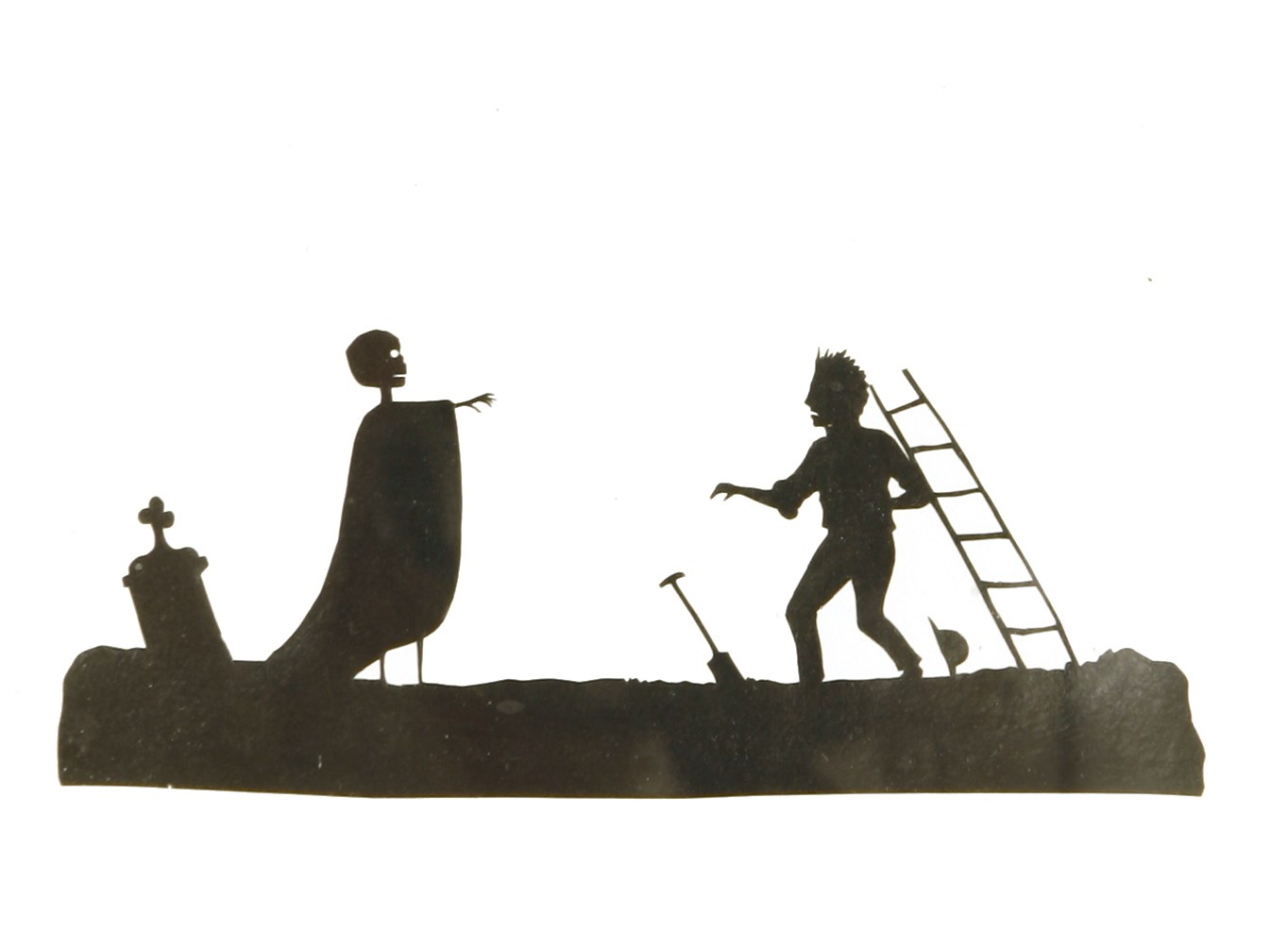 19th century pictorial silhouette of grave digger