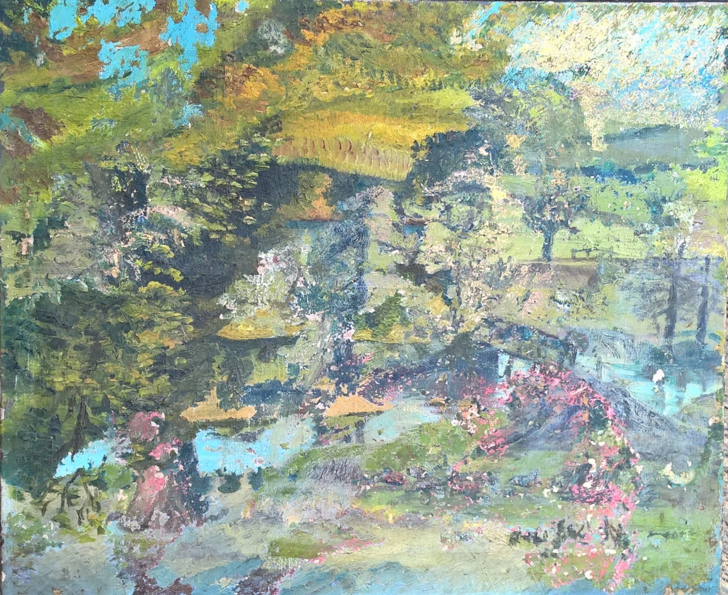 The layers of Tom Wright's painting were removed to reveal the Lucian Freud landscape beneath