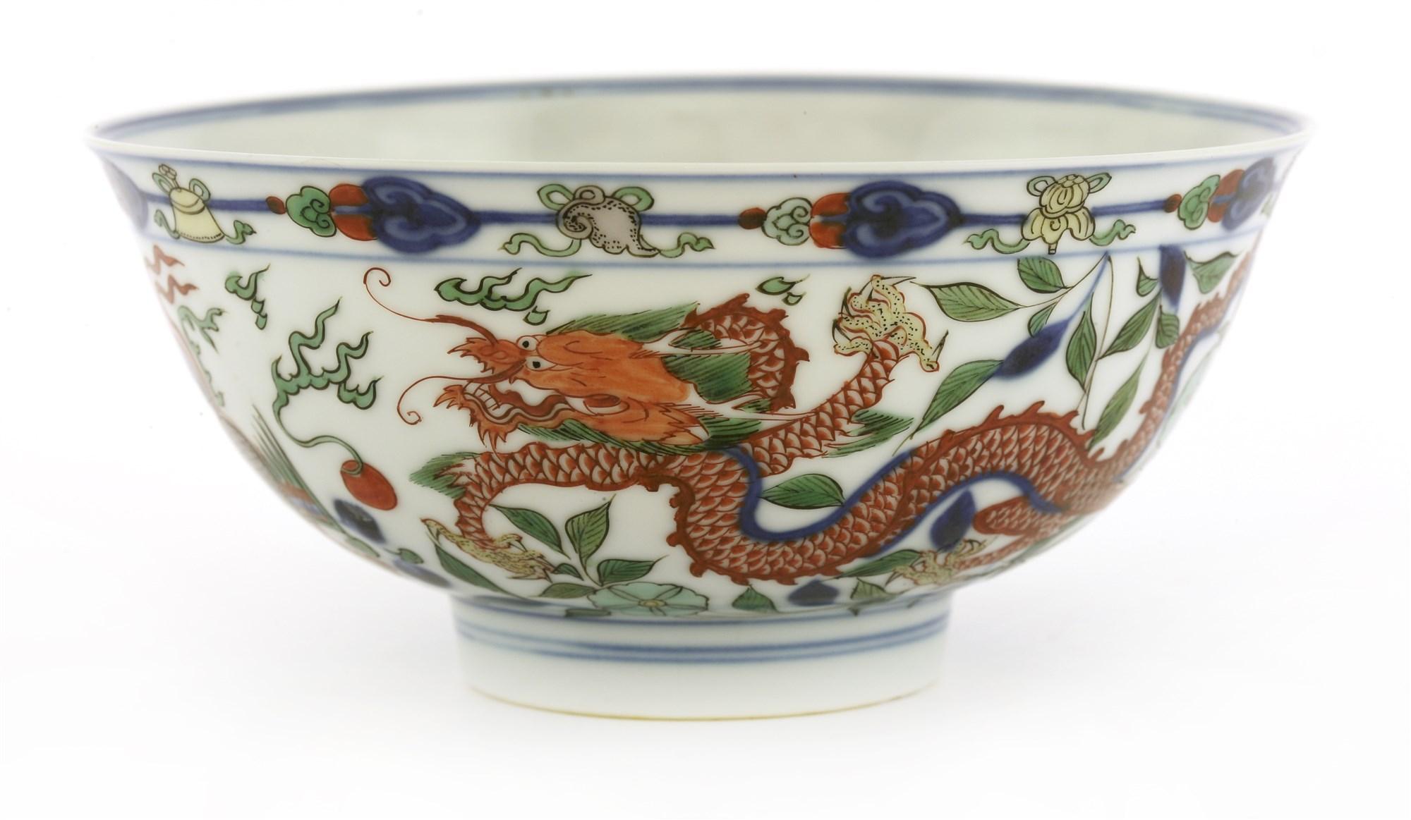 A Kangxi wucai 'dragon and phoenix' bowl