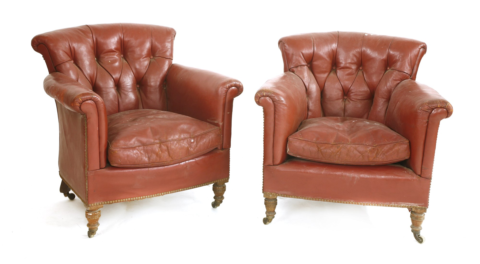 Sir Rod Stewart's Red Leather Armchairs at Sworders Fine Art