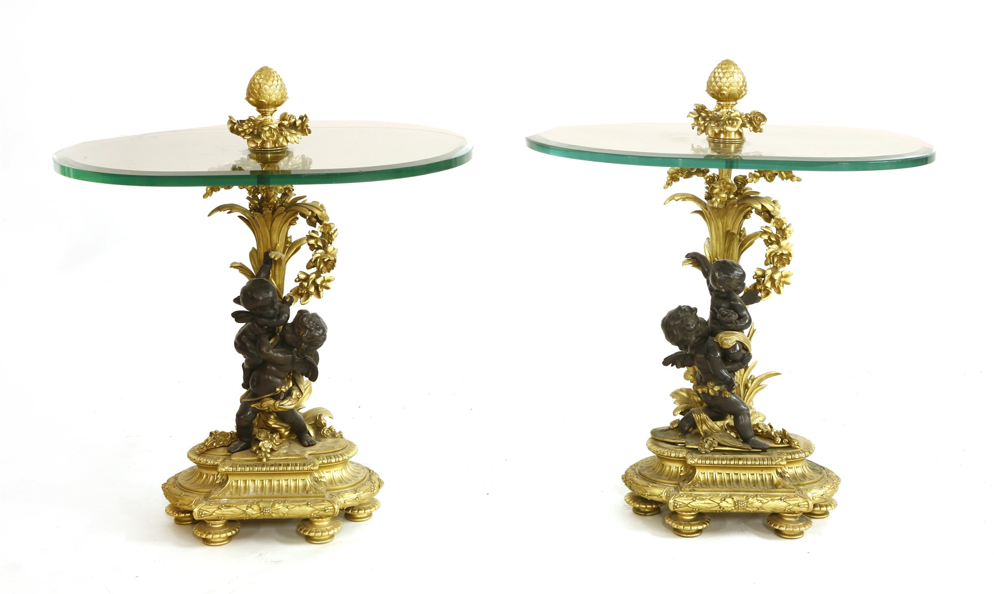 a pair of gilt bronze-mounted side tables