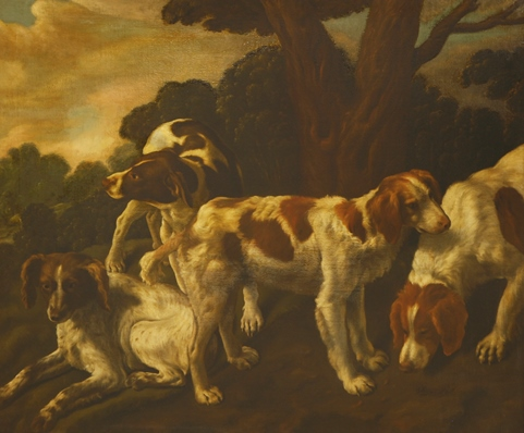 Dutch School SPANIELS AND POINTER IN A LANDSCAPE sells for £61,000