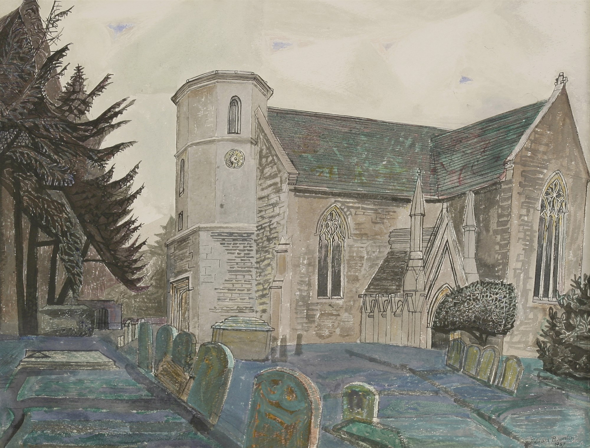 Edward Bawden RA (1903-1989) ST NICHOLAS'S CHURCH, FYFIELD. Sold for £11,956 including premium at Sworders in November 2017
