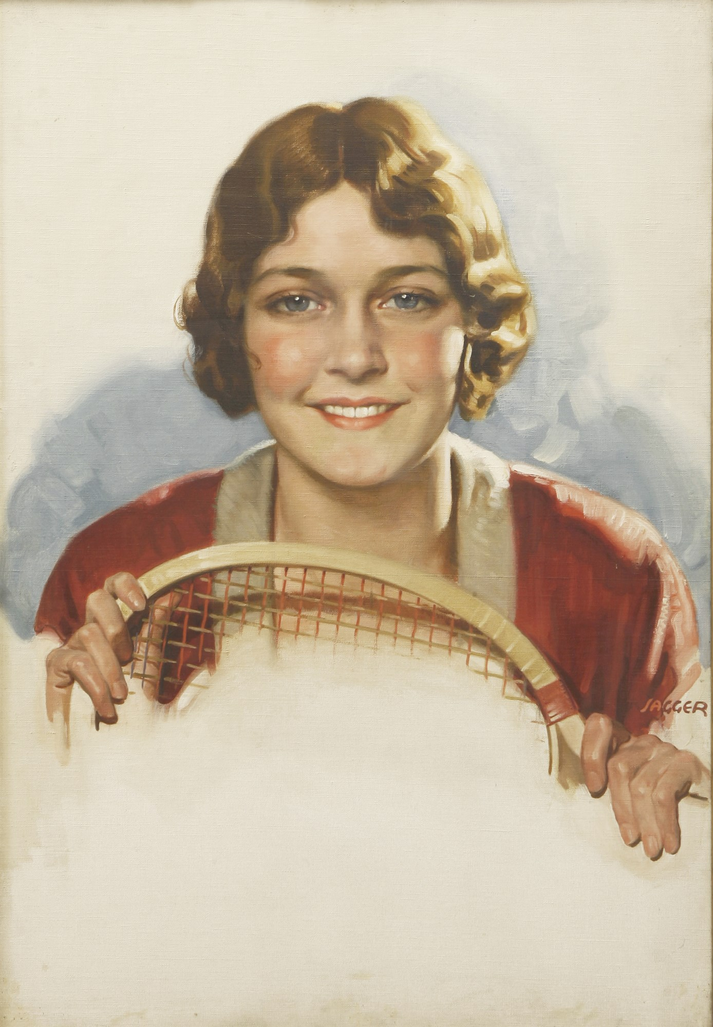David Jagger (1891-1958), A LADY WITH A TENNIS RACQUET