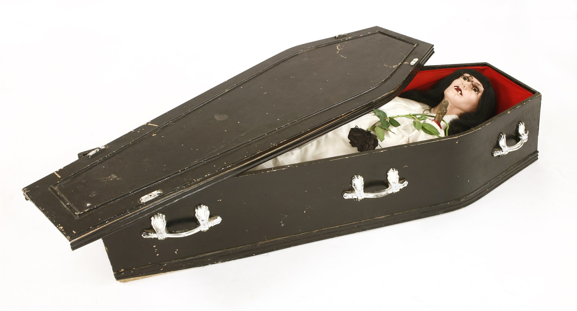 Working model of a vampire in her coffin