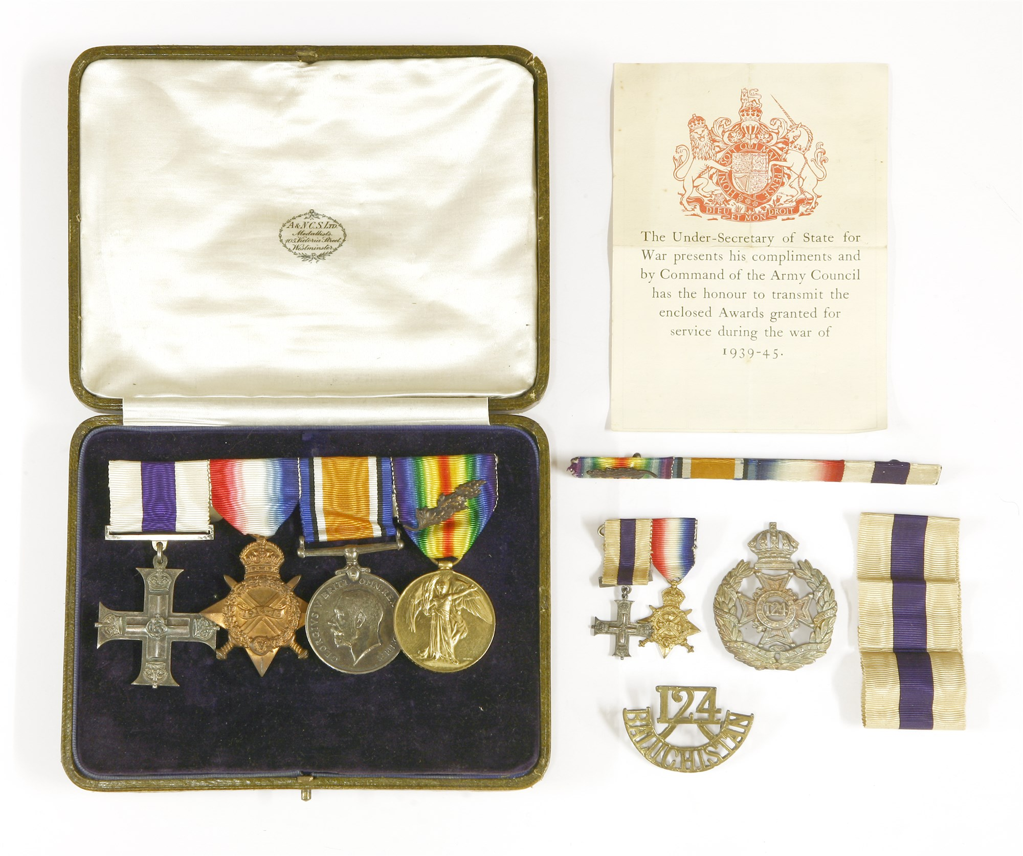 Medals awarded to J A C Kiddle