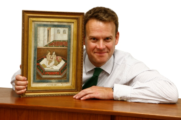 Sworders Director John Black with the 17th century Indian Miniature