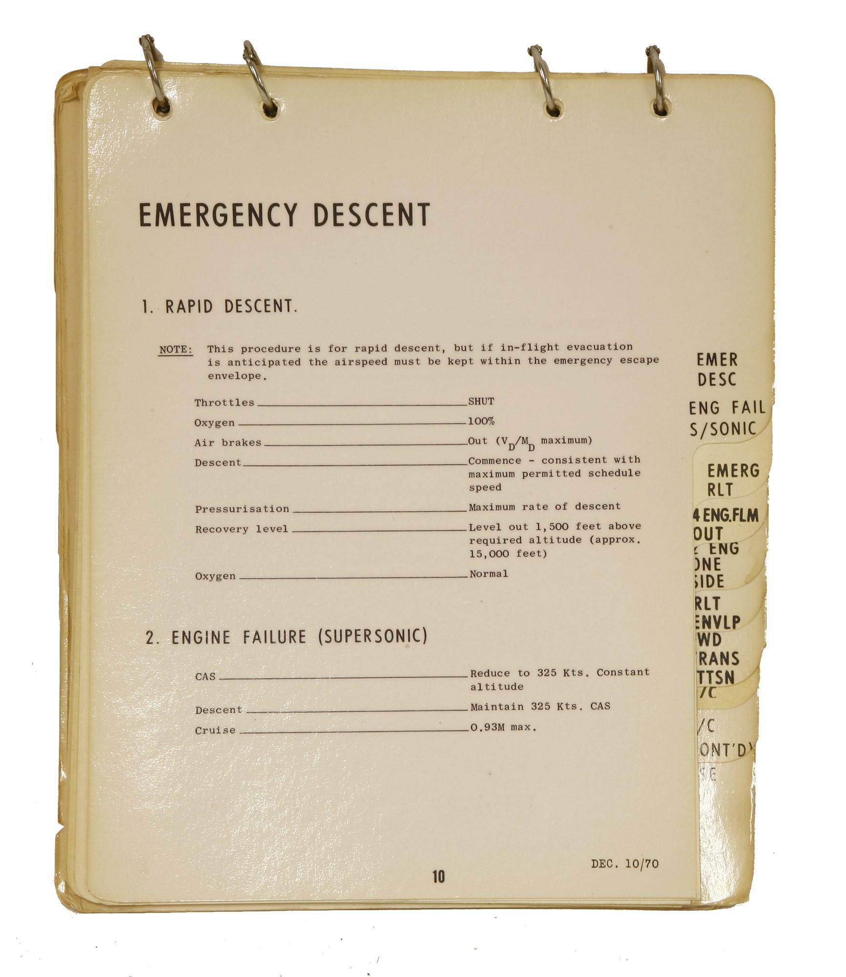 Concorde 002 'Emergency Procedures Manual' - The Tim Wonnacott Collection