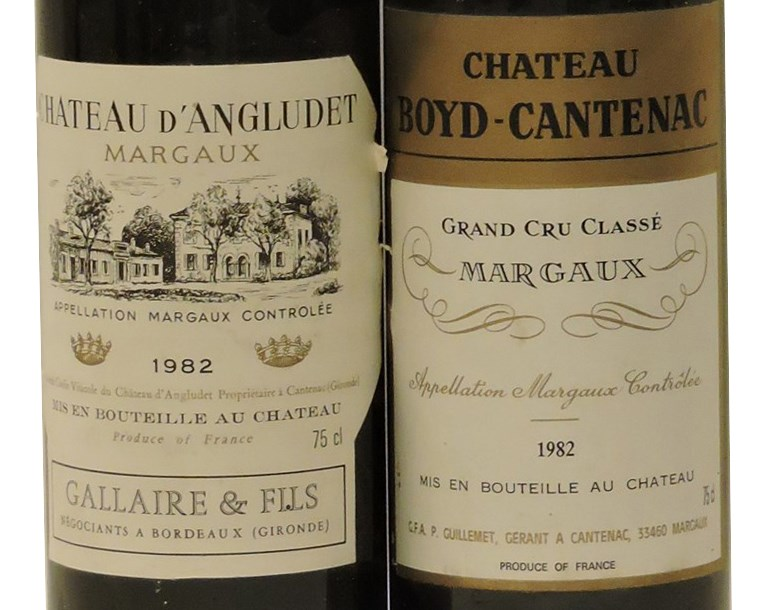 Lot 608 - Sworders Fine Wine & Port - Assorted 1982 Red Bordeaux to include one bottle each: Château d'Angludet, Margaux Cru Bourgeois Supérieur; Château Boyd-Cantenac, Margaux 3rd growth, two bottles in total