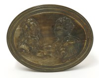 Lot 102 - A pressed horn oval snuff box