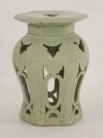 Lot 44 - A celadon stoneware Garden Seat