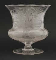 Lot 89 - An engraved glass Vase