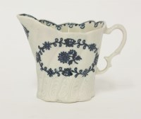 Lot 13 - A Liverpool blue and white high Chelsea Ewer