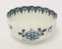 Lot 18 - A rare Worcester blue and white 'Scalloped Peony' Bowl
