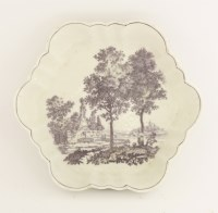 Lot 26 - A rare Worcester purple-printed Teapot Stand