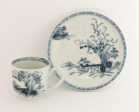 Lot 27 - A Liverpool blue and white Coffee Cup and Saucer