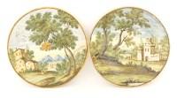 Lot 45 - A pair of Castelli maiolica Plates