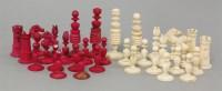 Lot 95 - An English ivory chess set