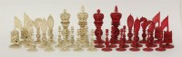 Lot 96 - A Chinese export ivory chess set