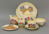 126 - A Royal Staffordshire Clarice Cliff Honey Glaze 'Spring Crocus' tea set