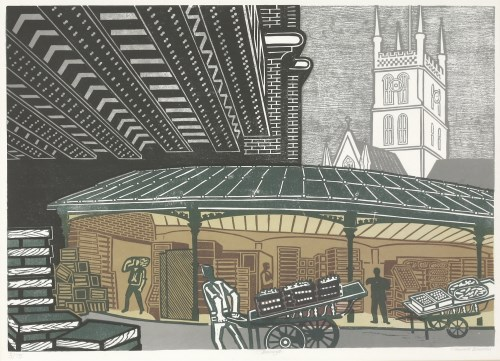 Lot 291-*Edward Bawden RA (1903-1989) 'BOROUGH MARKET' Linocut