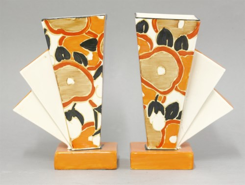 180 - A pair of rare Clarice Cliff 'Orange Chintz' vases