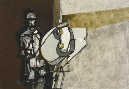 Lot 399 - *David Carr (1915-1968) MAN AND MACHINE Oil on board 53 x 76cm