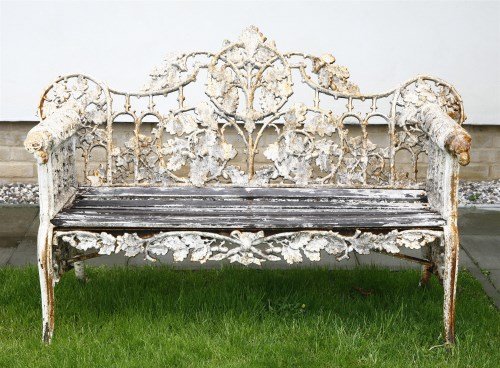Lot 461-A Coalbrookdale design cast iron garden bench